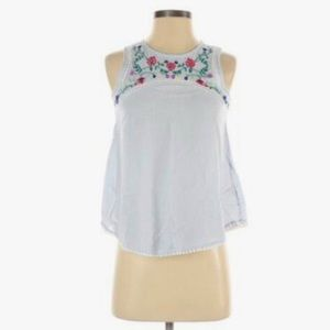 SO blue pinstriped floral sleeveless blouse
